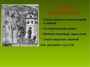 ГОРОДА ВОЗНИКАЛИ: Около крупных монастырей и замков На пересечении дорог Вбли