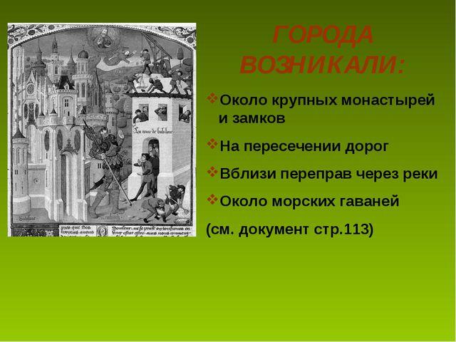 ГОРОДА ВОЗНИКАЛИ: Около крупных монастырей и замков На пересечении дорог Вбли...