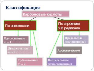 По основности По строению УВ радикала Ароматические Классификация Карбоновые