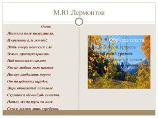 М.Ю.Лермонтов Осень Листья в поле пожелтели, И кружатся, и летят; Лишь в бору