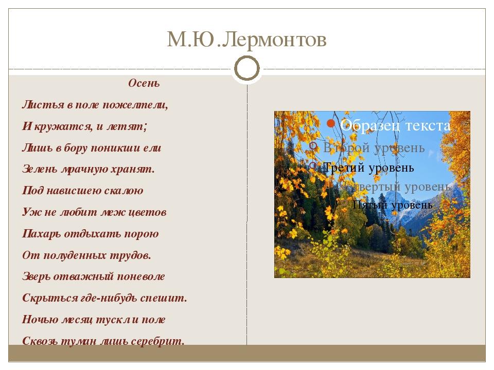 М.Ю.Лермонтов Осень Листья в поле пожелтели, И кружатся, и летят; Лишь в бору...