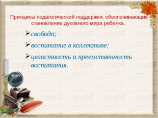 Принципы педагогической поддержки, обеспечивающие становление духовного мира