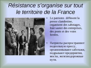 Résistance s'organise sur tout le territoire de la France Le patriotes diffus