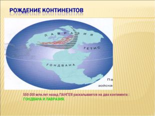 550-300 млн.лет назад ПАНГЕЯ раскалывается на два континента : ГОНДВАНА И ЛАВ