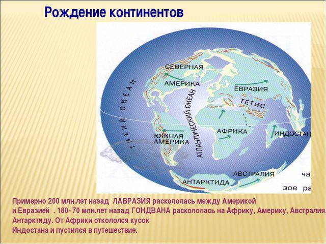 Рождение континентов Примерно 200 млн.лет назад ЛАВРАЗИЯ раскололась между Ам...