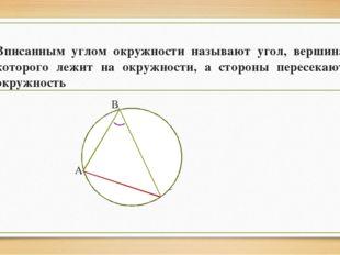 Вписанным углом окружности называют угол, вершина которого лежит на окружност