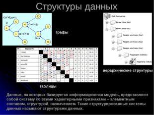 Структуры данных Данные, на которых базируется информационная модель, предст