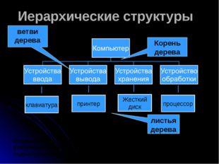 Иерархические структуры Иерархическую структуру имеют системы административно