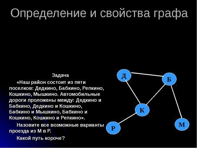 Определение и свойства графа Задача «Наш район состоит из пяти поселков: Дедк...