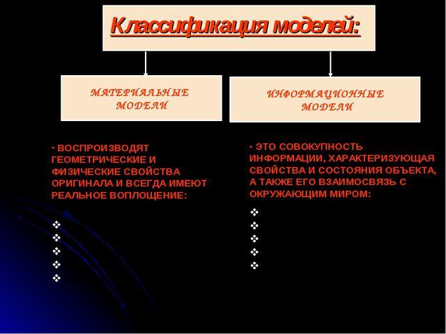 Классификация моделей: ВОСПРОИЗВОДЯТ ГЕОМЕТРИЧЕСКИЕ И ФИЗИЧЕСКИЕ СВОЙСТВА ОР...