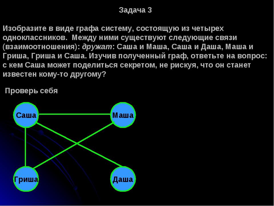 Задача 3 Изобразите в виде графа систему, состоящую из четырех одноклассников...
