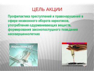 ЦЕЛЬ АКЦИИ Профилактика преступлений и правонарушений в сфере незаконного обо