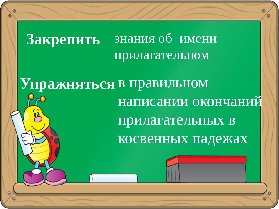 Закрепить знания об имени прилагательном Упражняться в правильном написании о...