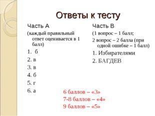 Ответы к тесту Часть А (каждый правильный ответ оценивается в 1 балл) 1. б 2.