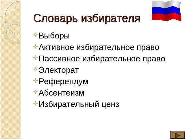 Словарь избирателя Выборы Активное избирательное право Пассивное избирательно...