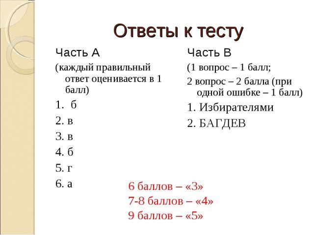 Ответы к тесту Часть А (каждый правильный ответ оценивается в 1 балл) 1. б 2....