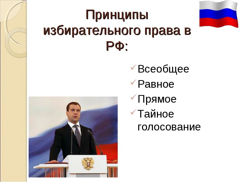 Принципы избирательного права в РФ: Всеобщее Равное Прямое Тайное голосование