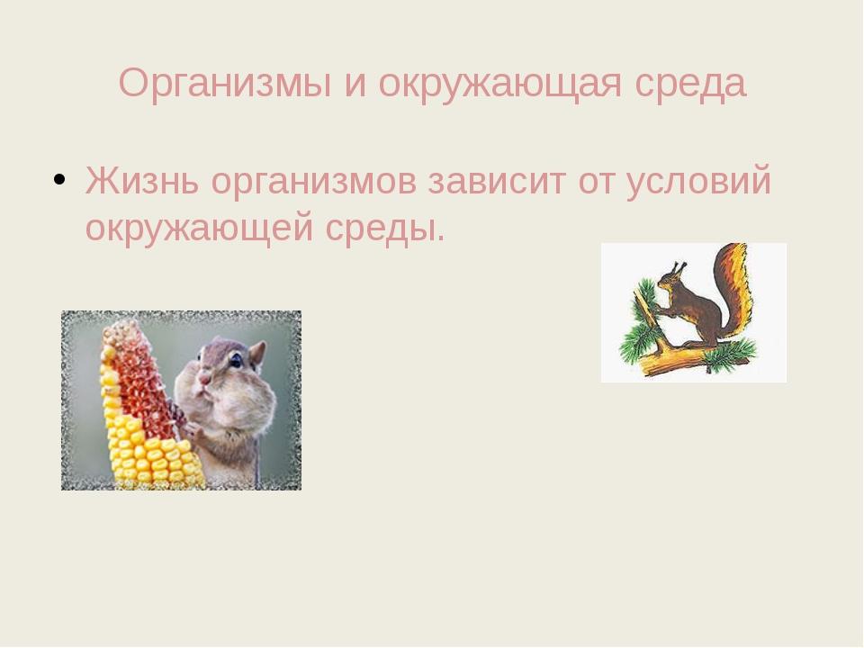 Организмы и окружающая среда Жизнь организмов зависит от условий окружающей с...