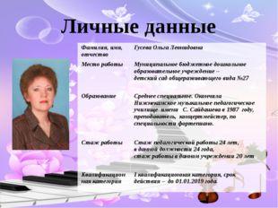 Личные данные Фамилия, имя, отчество Гусева Ольга Леонидовна Место работы Мун