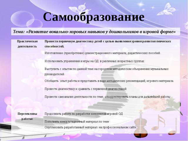 Самообразование Тема: «Развитие вокально-хоровых навыков у дошкольников в игр...