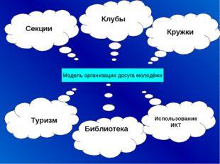 Модель организации досуга молодёжи Кружки Библиотека Секции Использование ИКТ