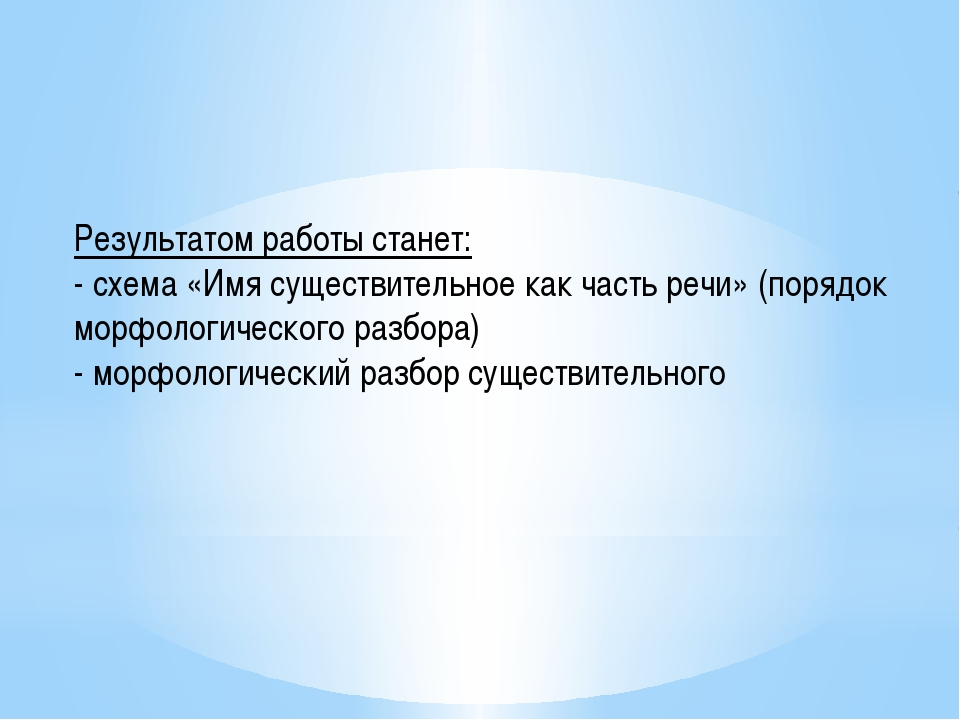 Результатом работы станет: - схема «Имя существительное как часть речи» (поря...