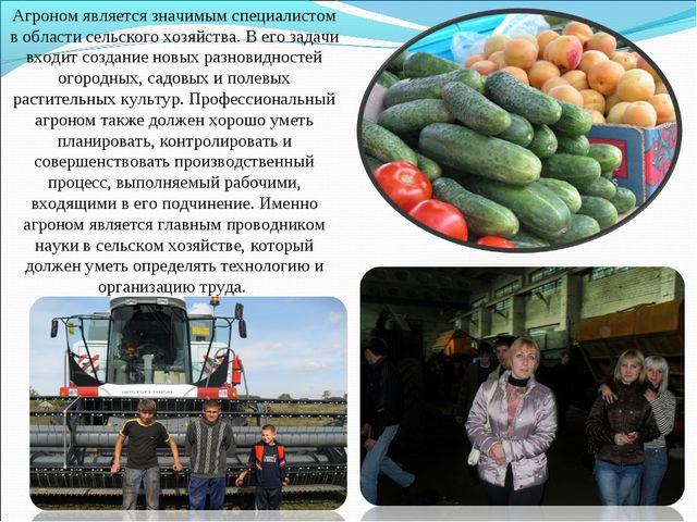 Агроном является значимым специалистом в области сельского хозяйства. В его з...