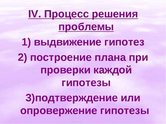 IV. Процесс решения проблемы 1) выдвижение гипотез 2) построение плана при пр...