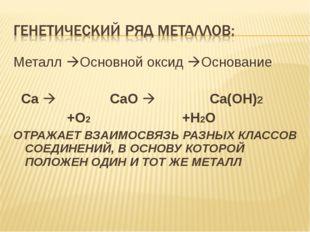 Металл Основной оксид Основание Ca  CaO  Ca(OH)2 +O2 +H2O ОТРАЖАЕТ ВЗАИМО