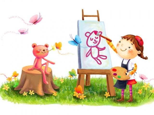 1680x1050 улыбка, краски, рисование, девочка, зверёк, рисунок картинки на рабочий стол обои фото скачать