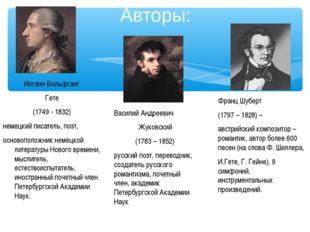 Авторы: Франц Шуберт (1797 – 1828) – австрийский композитор – романтик, автор