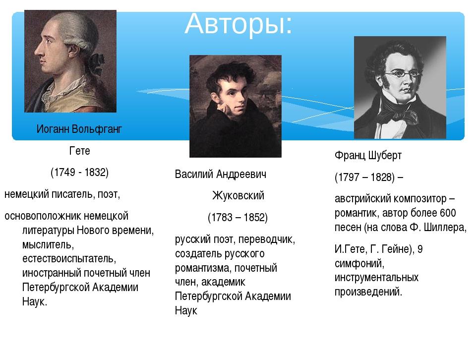 Авторы: Франц Шуберт (1797 – 1828) – австрийский композитор – романтик, автор...