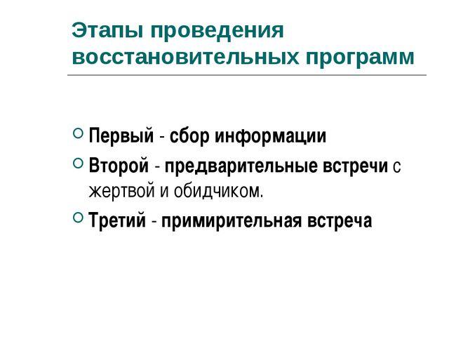 Этапы проведения восстановительных программ Первый - сбор информации Второй -...