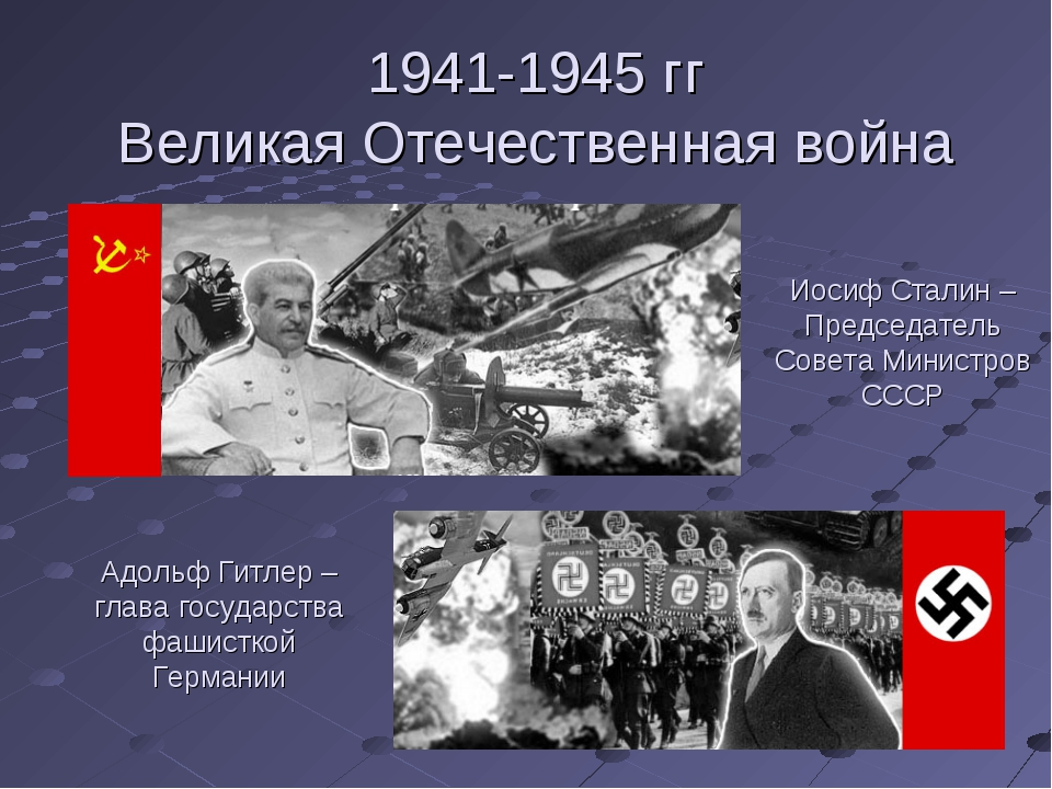 1941-1945 гг Великая Отечественная война Адольф Гитлер – глава государства фа...