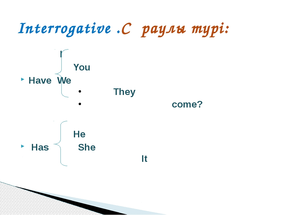 I		 You Have	We		 		They 		 come? He Has She 	It Interrogative .Сұраулы тү...