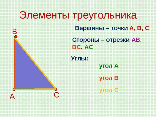 Элементы треугольника А В С Вершины – точки А, В, С Стороны – отрезки АВ, ВС,...