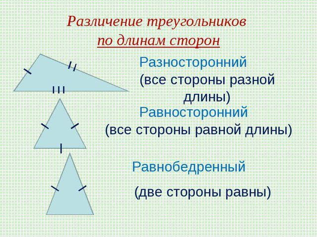 Различение треугольников по длинам сторон Разносторонний (все стороны разной...