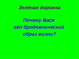 Зелёная дорожка Почему Вася вёл бродяжнический образ жизни?