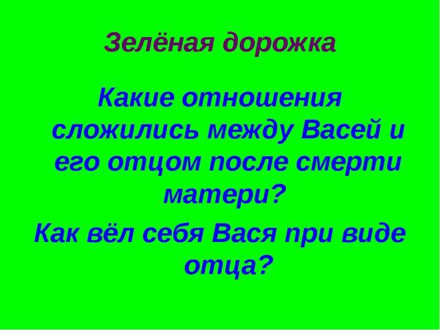 Зелёная дорожка Какие отношения сложились между Васей и его отцом после смерт...