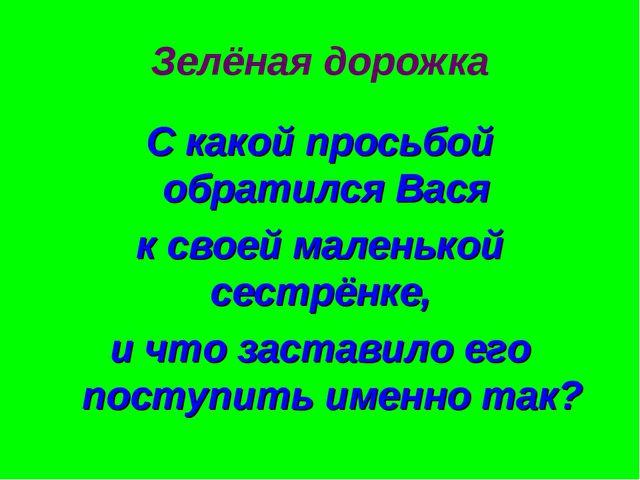 Зелёная дорожка С какой просьбой обратился Вася к своей маленькой сестрёнке,...