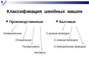 Классификация швейных машин Производственные Универсальные Специальные Полуав