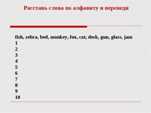 fish, zebra, bed, monkey, fox, cat, desk, gun, glass, jam 1 2 3 4 5 6 7 8 9 1