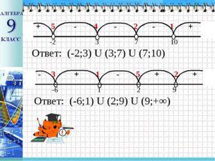 + 5 - 4 - 2 - 1 + -2 3 7 10 Ответ: (-2;3) U (3;7) U (7;10) - 3 + 1 - 5 + 2 +