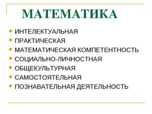 МАТЕМАТИКА ИНТЕЛЕКТУАЛЬНАЯ ПРАКТИЧЕСКАЯ МАТЕМАТИЧЕСКАЯ КОМПЕТЕНТНОСТЬ СОЦИАЛ