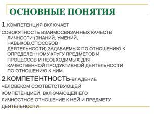 ОСНОВНЫЕ ПОНЯТИЯ 1.КОМПЕТЕНЦИЯ ВКЛЮЧАЕТ СОВОКУПНОСТЬ ВЗАИМОСВЯЗАННЫХ КАЧЕСТВ
