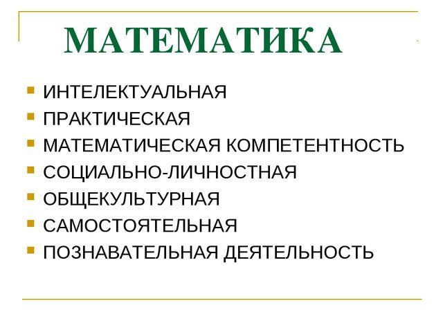 МАТЕМАТИКА ИНТЕЛЕКТУАЛЬНАЯ ПРАКТИЧЕСКАЯ МАТЕМАТИЧЕСКАЯ КОМПЕТЕНТНОСТЬ СОЦИАЛ...