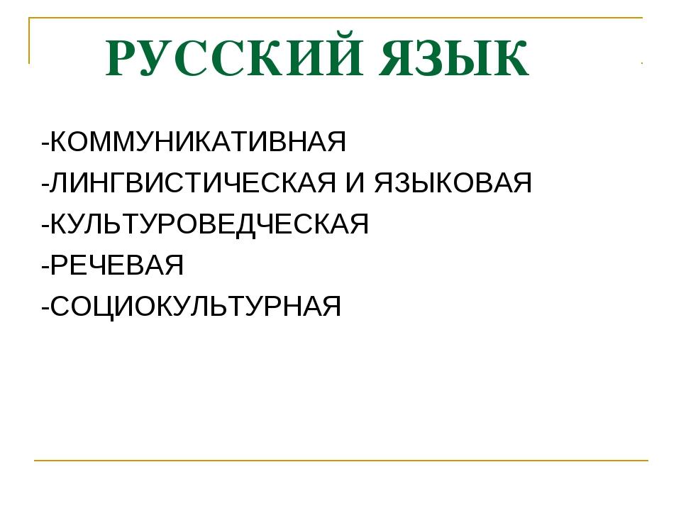 РУССКИЙ ЯЗЫК -КОММУНИКАТИВНАЯ -ЛИНГВИСТИЧЕСКАЯ И ЯЗЫКОВАЯ -КУЛЬТУРОВЕДЧЕСКАЯ...