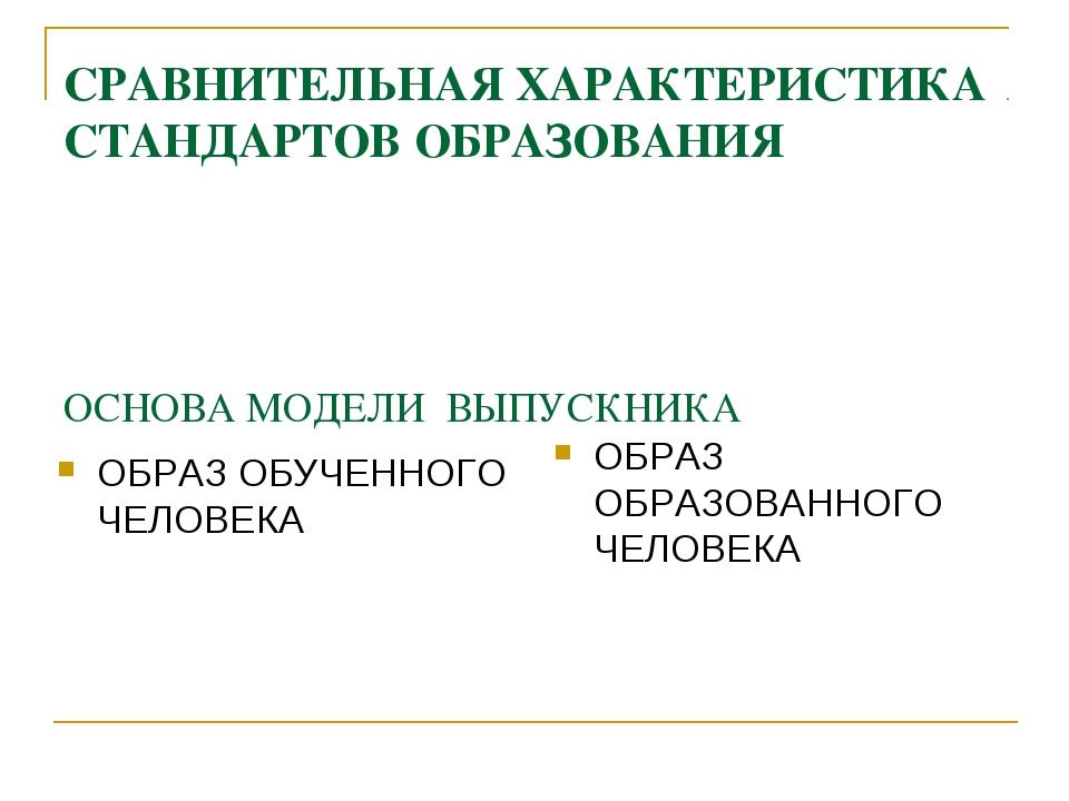 СРАВНИТЕЛЬНАЯ ХАРАКТЕРИСТИКА СТАНДАРТОВ ОБРАЗОВАНИЯ ОСНОВА МОДЕЛИ ВЫПУСКНИКА...