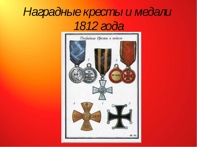Наградные кресты и медали 1812 года