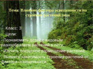 Тема: Влияние фактора освещенности на строение растений леса Класс: 3 Цели: -